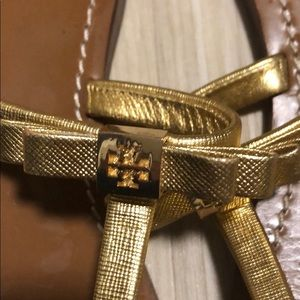 Tory Burch Shoes - Gold Tory Burch t strap bow sandal size 7.5